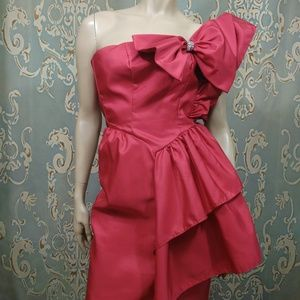 Vintage 80s Prom Dress Size 00 XXS Red Large Bow